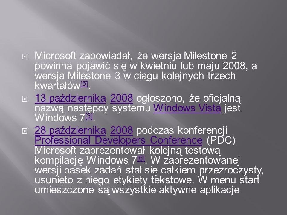 Microsoft zapowiadał, że wersja Milestone 2 powinna pojawić się w kwietniu lub maju 2008, a wersja Milestone 3 w ciągu kolejnych trzech kwartałów[5].